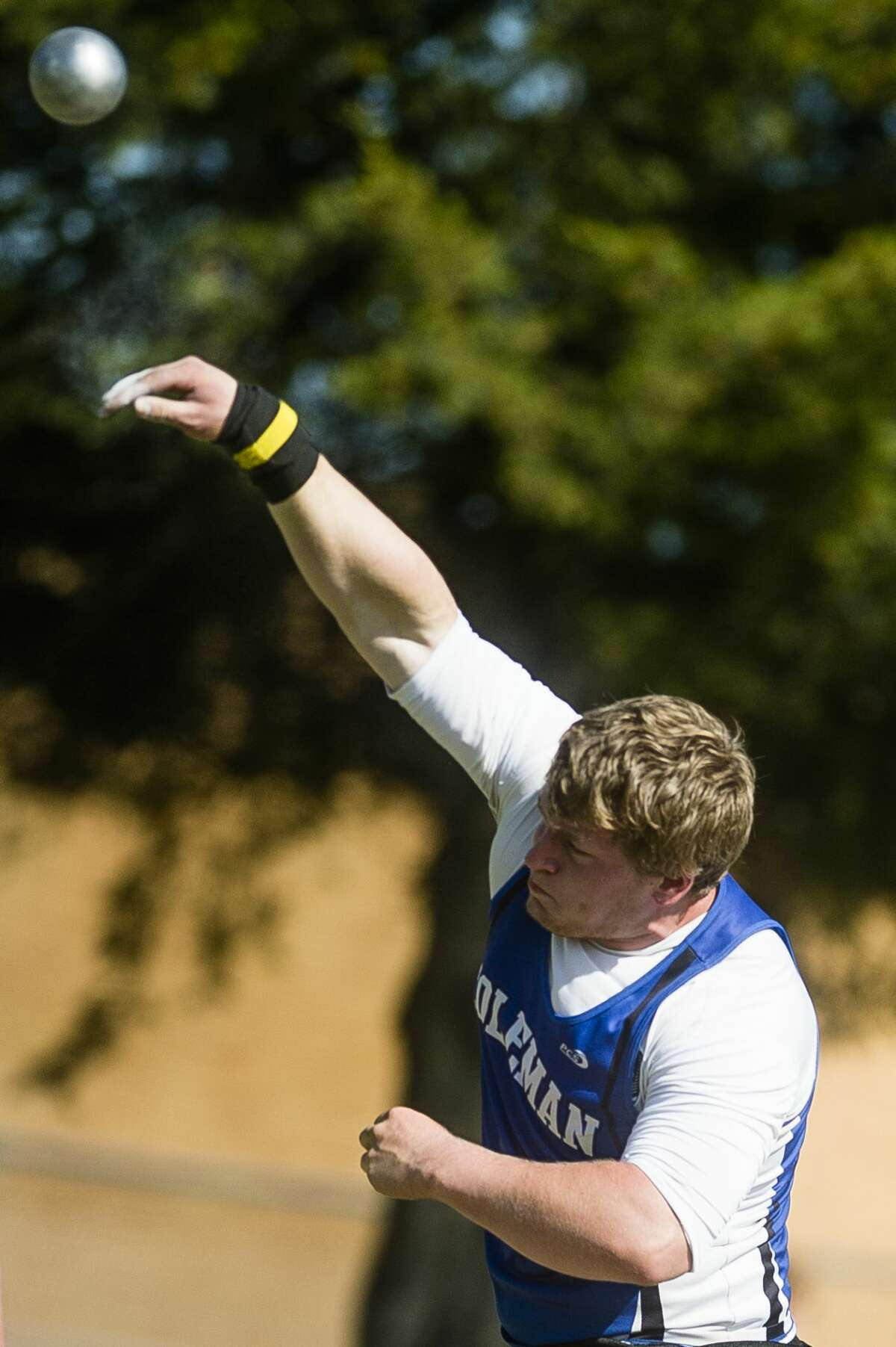 Coleman senior Cody Finney competes in the shot put event during a track and field meet on Wednesday, May 23, 2018 at Coleman High School. (Katy Kildee/kkildee@mdn.net)
