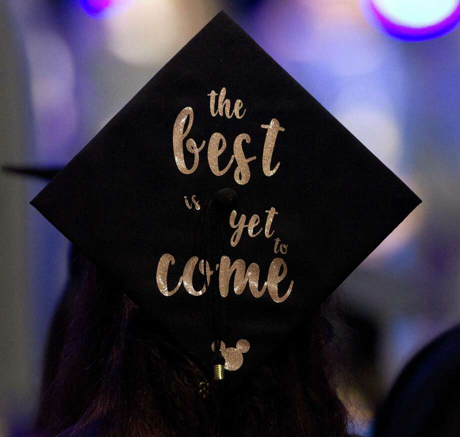A graduation cap is seen during a graduation ceremony for Lone Star College - Montgomery at The Woodlands Church, Thursday, May 10, 2018, in The Woodlands. Photo: Jason Fochtman, Staff Photographer / Houston Chronicle / © 2018 Houston Chronicle