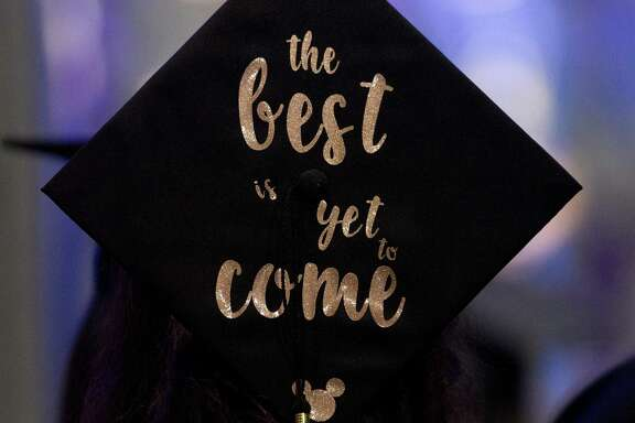 A graduation cap is seen during a graduation ceremony for Lone Star College - Montgomery at The Woodlands Church, Thursday, May 10, 2018, in The Woodlands.