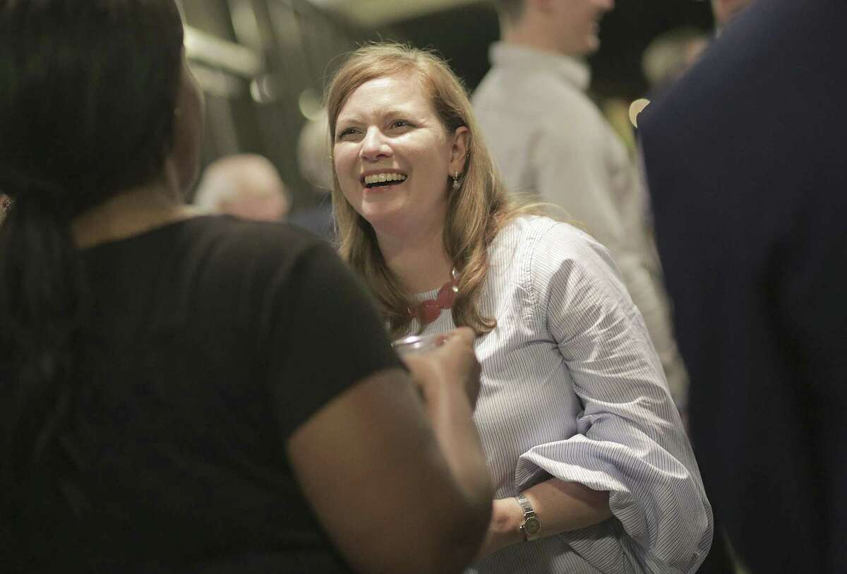 Lizzie Pannill Fletcher talks to supporters during her May 22 election night party at Buffalo Grill in Houston.