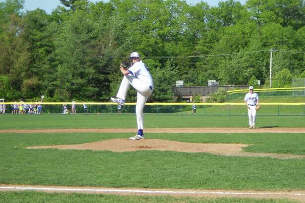 Newtown senior Kyle Roche delivers a pitch in the first inning of Newtown's 2-1 win over Stratford in the SWC quarterfinals, May 23, 2018.