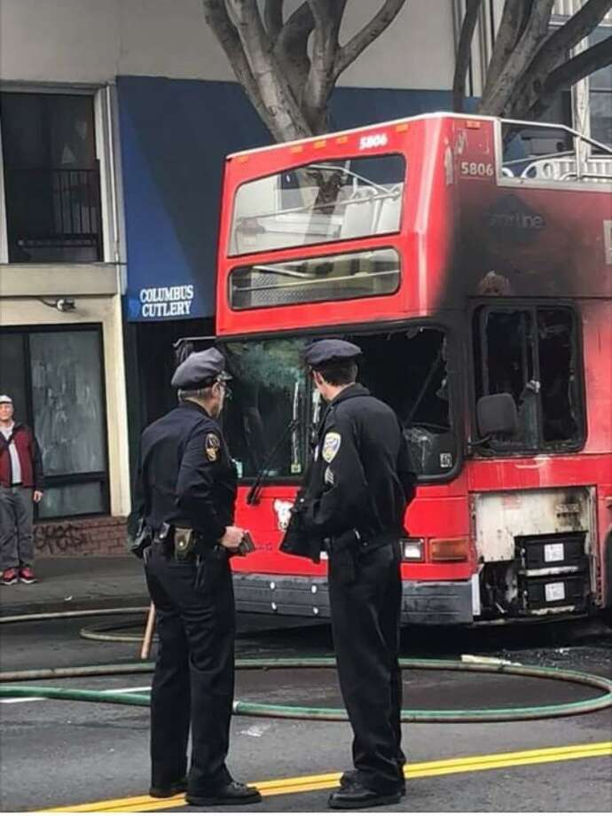 A double decker tour bus caught fire in San Francisco on May 23, 2018. Photo courtesy of Brent Yocom Photo: /