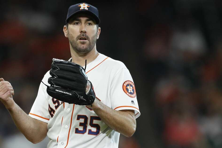 Houston Astros starting pitcher Justin Verlander (35) between pitches during the fifth inning of an MLB game at Minute Maid Park, Wednesday, May 23, 2018, in Houston.  ( Karen Warren  / Houston Chronicle )