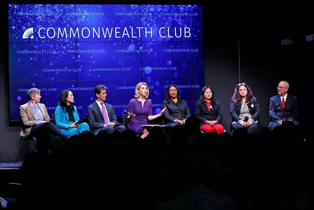 Amy Farah Weiss, Jane Kim, Mark Leno, moderator Melissa Caen, London Breed, Ellen Lee Zhou, Angela Alioto and Richie Greenberg during San Francisco mayoral debate at Commonwealth Club in San Francisco, on May 14, 2018.