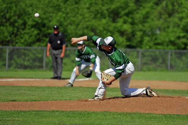 New Milford's Tim Cianciolo throws a pitch during a game against ND-Fairfield on Wednesday.