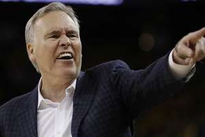 Houston Rockets head coach Mike D'Antoni gestures during the second half in Game 4 of the NBA basketball Western Conference Finals against the Golden State Warriors Tuesday, May 22, 2018, in Oakland, Calif. (AP Photo/Marcio Jose Sanchez)