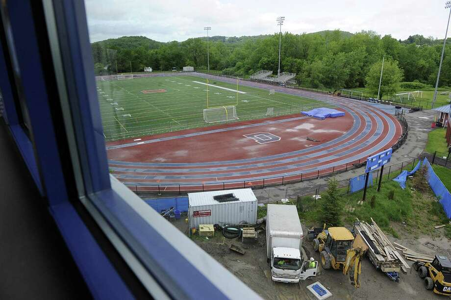 A view of the track at Danbury High School from a Science Lab window in the newly built  wing of the school, Wednesday, May 23, 2018. Photo: Carol Kaliff / Hearst Connecticut Media / The News-Times