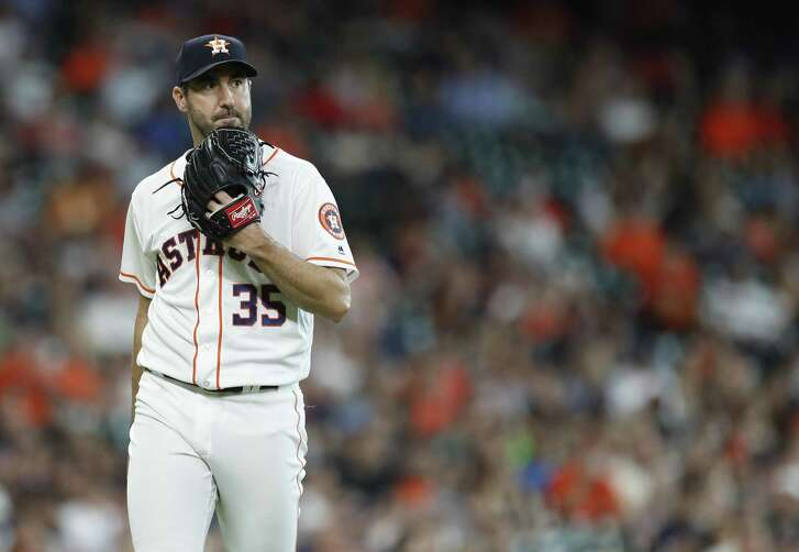 Houston Astros starting pitcher Justin Verlander (35) reacts after striking out San Francisco Giants Evan Longoria during the fourth inning of an MLB game at Minute Maid Park, Wednesday, May 23, 2018, in Houston.  ( Karen Warren  / Houston Chronicle )