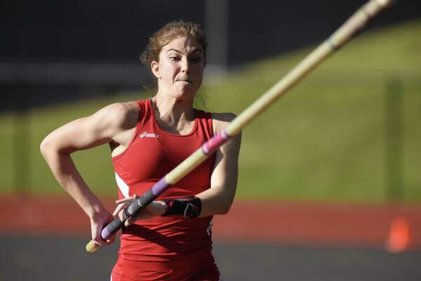 Greenwich's Lia Zavattaro, shown here in a May 15, 2017, file photo, won her third straight FCIAC title in the pole vault on Monday.