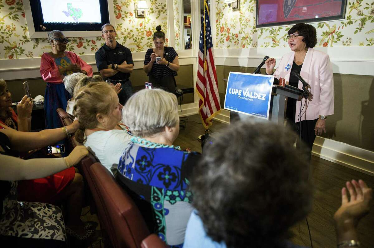 Gubernatorial candidate and former Dallas County Sheriff Lupe Valdez speaks after her runoff win at a democratic party celebration at Ellen's in Dallas on Tuesday, May 22, 2018. Today's primary runoff election will decide whether Valdez or Andrew White will be the democratic candidate for Texas governor on the ballot in November. (Ashley Landis/The Dallas Morning News)