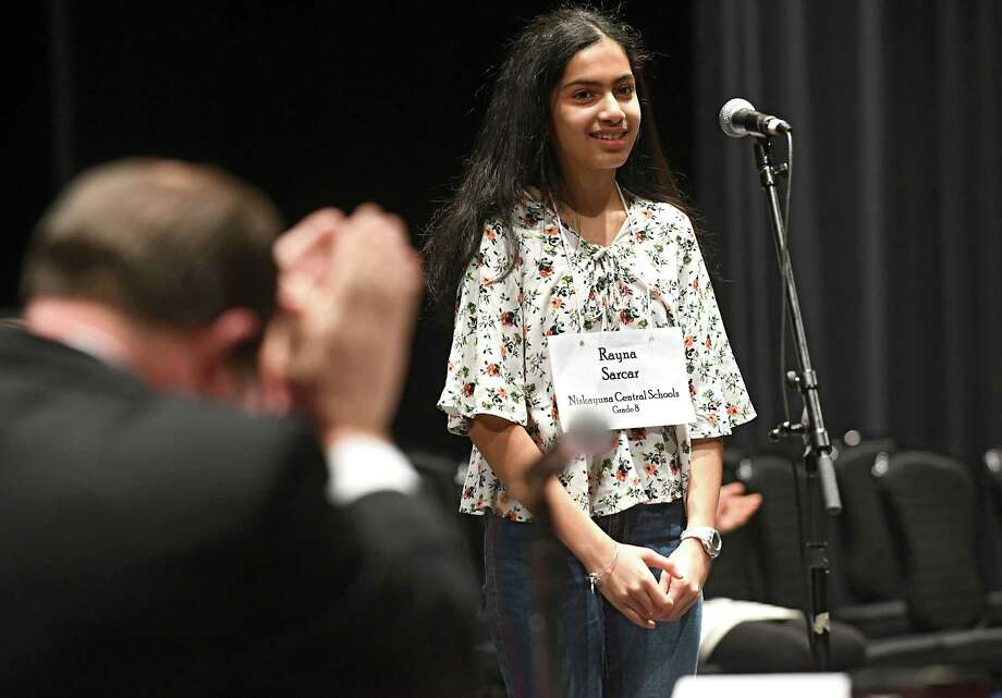 "Eighth grader Ryana Sarcar, 14, of Niskayuna, spells the word ""plenary"" to win the 36th Annual Capital Region Spelling Bee at Proctors Theatre on Tuesday, Feb. 13, 2018 in Schenectady, N.Y. Sarcar will advance to the 91st Scripps National Spelling Bee in Washington D.C. in May. (Lori Van Buren/Times Union) Photo: Lori Van Buren / 20042879A"