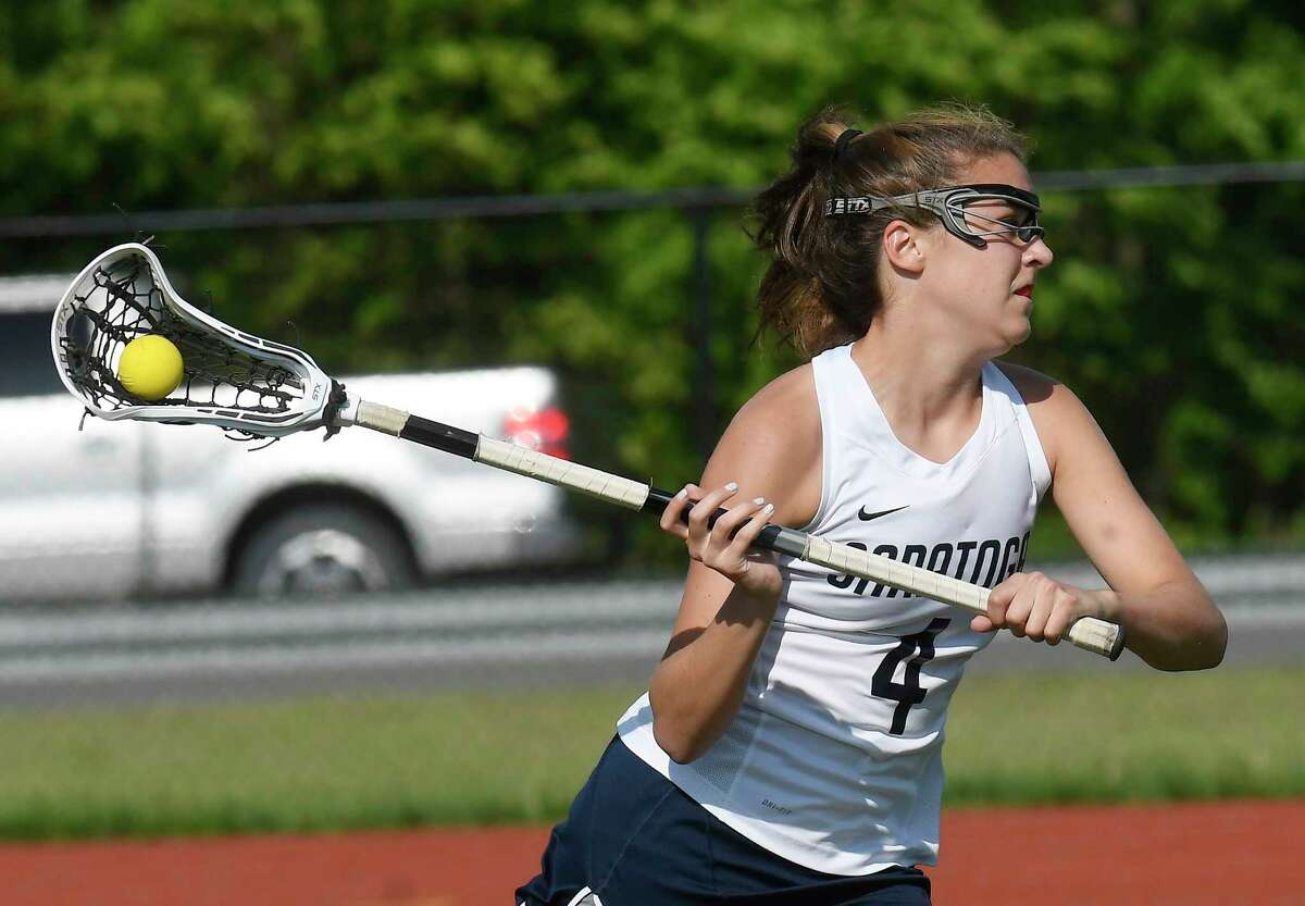 Saratoga's Lindsey Frank (4) scores against Bethlehem during a Section II Class A girls' lacrosse final Wednesday, May 23, 2018, in Rotterdam, N.Y. (Hans Pennink / Special to the Times Union)
