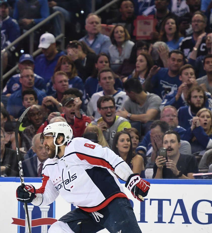 f0683b679ab Capitals left wing Alex Ovechkin (8) celebrates after scoring in the first  period of