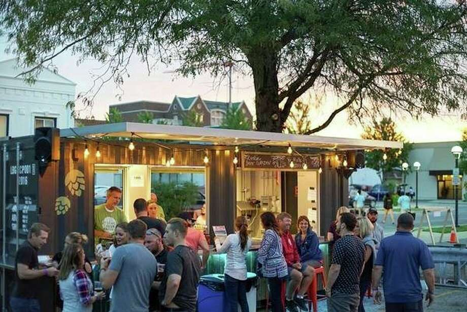 People congregate at the Larkin Beer Garden in downtown Midland. (Photo provided/Ben Tierney)