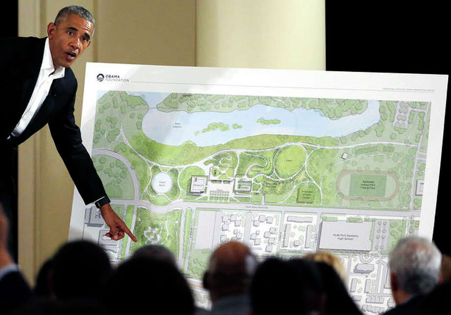 Former President Barack Obama speaks about his presidential center in May 2017 during a community event at the South Shore Cultural Center in Chicago. The Obama Presidential Center won council approval on Wednesday, a major — but not final — hurdle for the project. Photo:       Nam Y. Huh | Associated Press
