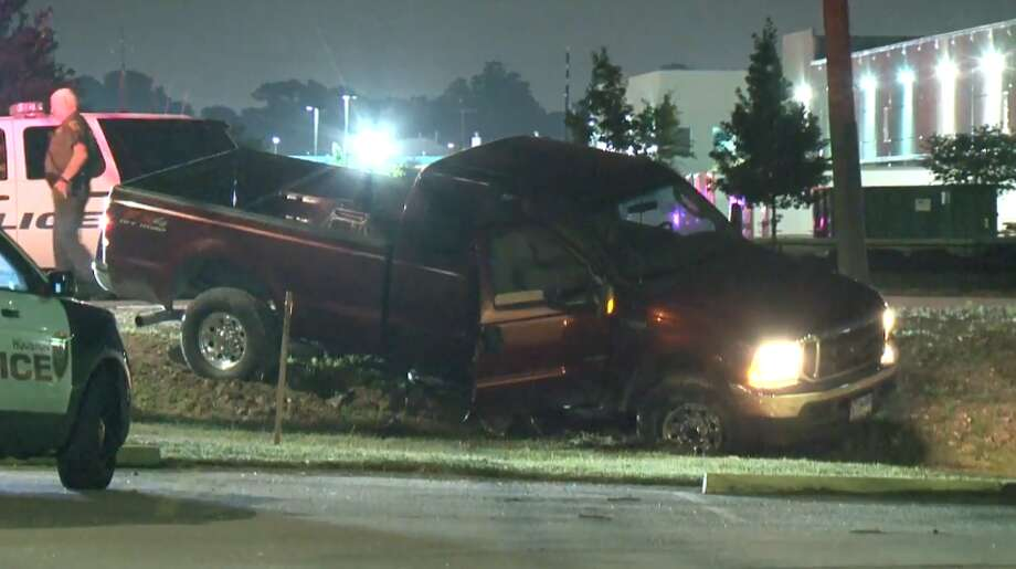 A man was arrested on Wednesday, May 23, 2018 after leading an officer on a chase through northwest Houston, police said. The chase ended near Langfield when the driver skidded into a ditch. Photo: Metro Video