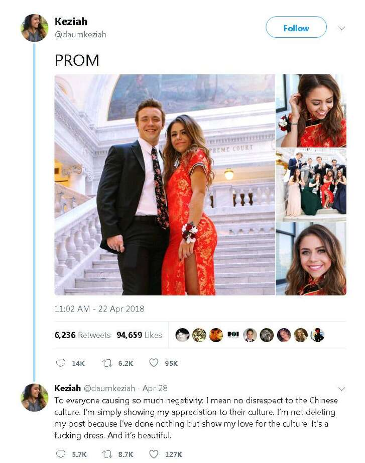 After prom Sunday, April 29, Utah senior Keziah Daum tweeted a photo with her friends. Her dress, a red cheongsam, also known as a qipao — the high-collared, form-fitting traditional Chinese dress. Photo: Twitter.com /DaumKeziah /