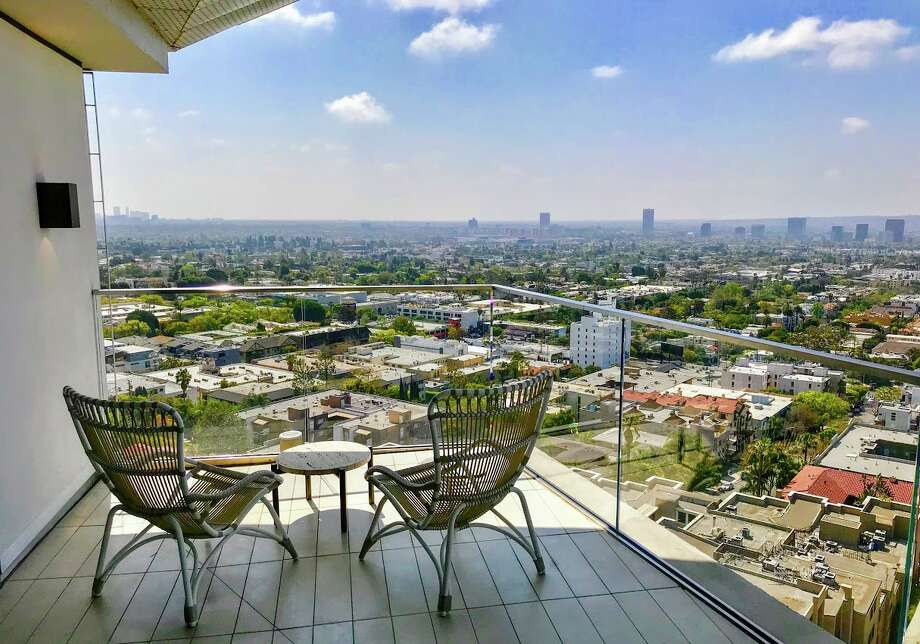 Penthouse balcony with a view south over West Hollywood at The Jeremy Hotel Photo: Chris McGinnis