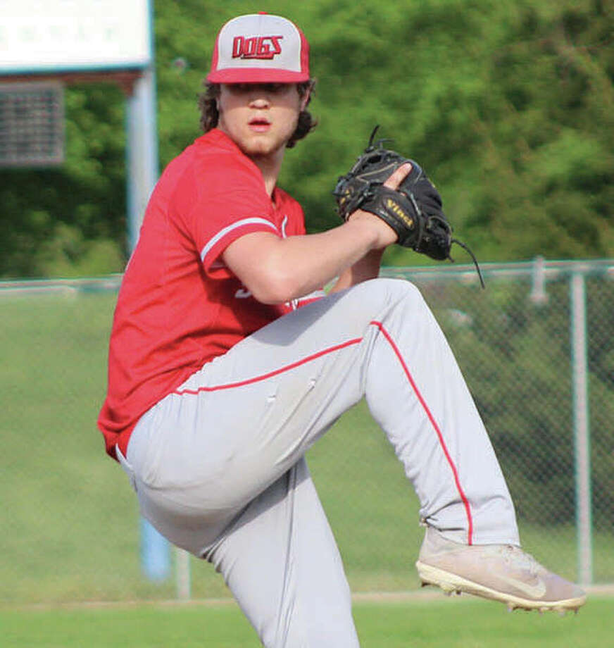 Staunton freshman Cy Cox, shown pitching in a game earlier this month against Marquette in Alton, picked up the win in relief after the Bulldogs rallied with a nine-run sixth inning to beat Greenville on Wednesday at the Flora Class 2A Sectional. Photo:       Greg Shashack / The Telegraph