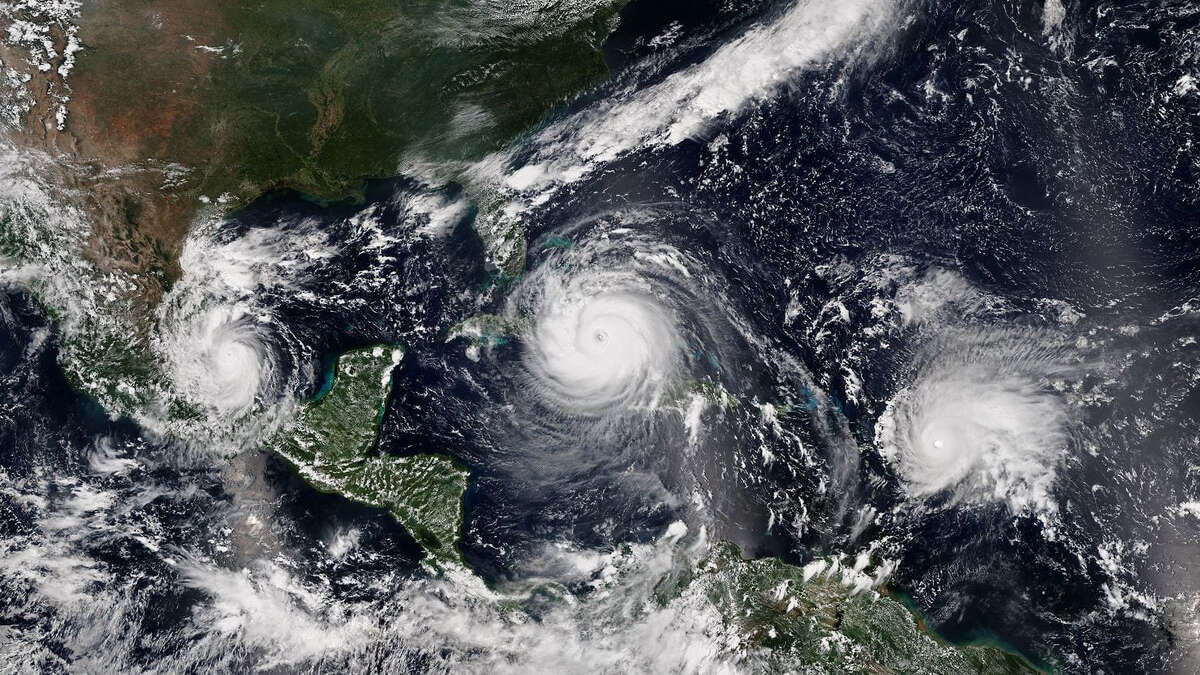 Satellite image of three 2017 hurricanes in the Atlantic at once - Katia, Irma and Jose.