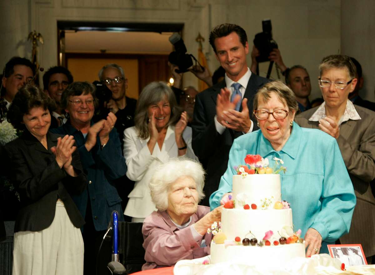 Moments that brought San Franciscans together The local legalization of same-sex marriage in the summer of 2008, and the thousands of City Hall weddings that followed.  Above: Del Martin, left, and Phyllis Lyon, right, were the first same-sex couple to be legally married by former San Francisco Mayor Gavin Newsom.