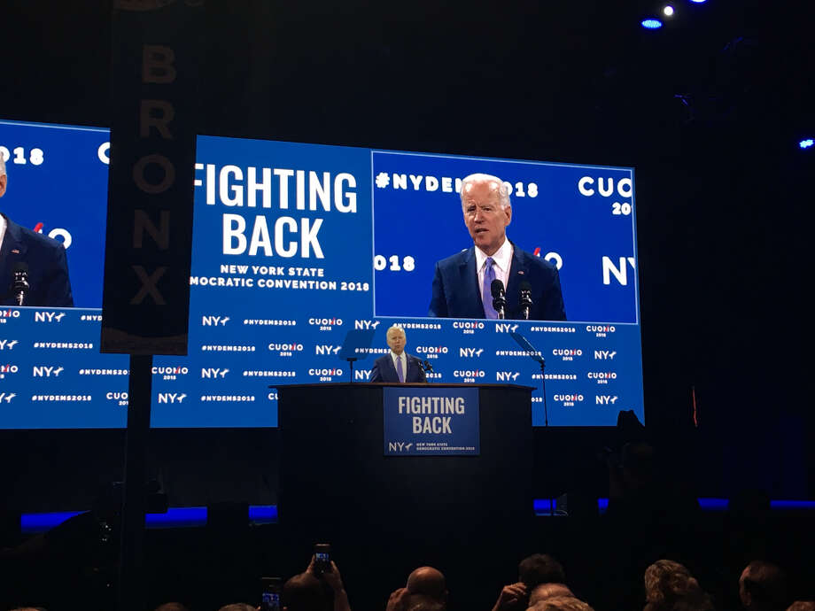 Former Vice President Joe Biden speaks at the state Democratic Party convention at Hofstra University in Long Island on Thursday. (David Lombard / Times Union)