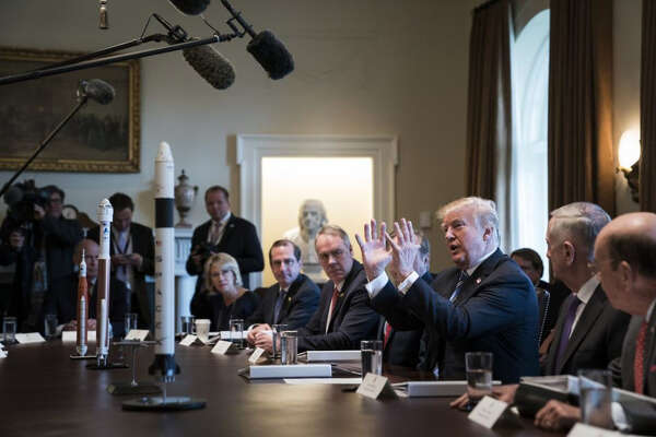 President Donald Trump speaks during a Cabinet meeting at the White House on March 8, 2018.