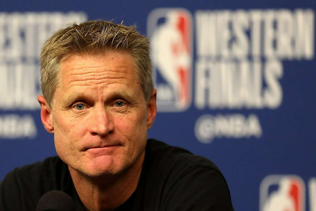 Head coach Steve Kerr of the Golden State Warriors speaks to the media on May 14, 2018 in Houston, Texas.