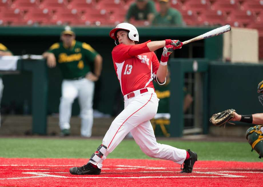 HOUSTON, TX - JUNE 03:  University of Houston Cougar pitcher Tyler Bielamowicz (13) flied out to left field in the fifth inning of the Houston Regional baseball game between the Baylor Bears and Houston Cougars on June 3, 2017 at Schroeder Park in Houston, Texas. (Photo by Leslie Plaza Johnson/Icon Sportswire via Getty Images) Photo: Icon Sportswire/Icon Sportswire Via Getty Images