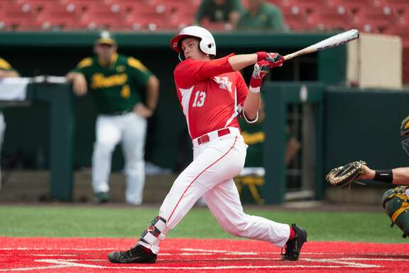 HOUSTON, TX - JUNE 03:  University of Houston Cougar pitcher Tyler Bielamowicz (13) flied out to left field in the fifth inning of the Houston Regional baseball game between the Baylor Bears and Houston Cougars on June 3, 2017 at Schroeder Park in Houston, Texas. (Photo by Leslie Plaza Johnson/Icon Sportswire via Getty Images)