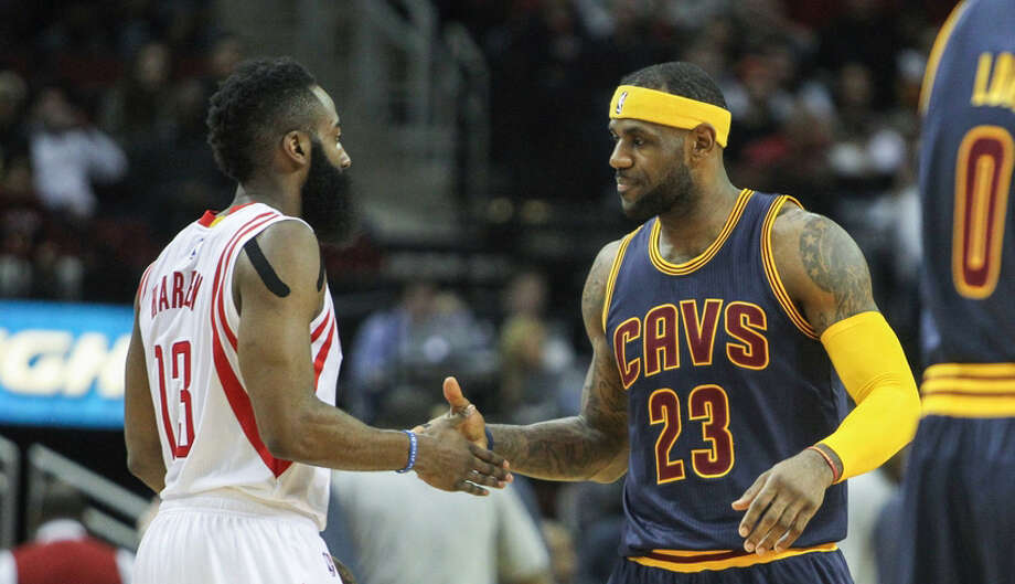 Could James Harden and LeBron James be joining forces next season? Photo: Wire