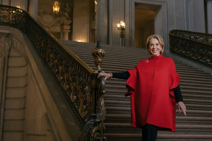 Charlotte Shultz, Chief of Protocol for the City of San Francisco, on the grand staircase of City Hall, which is named after her, on May 9th, 2018. Shultz has held the position for 55 years, through ten mayors.