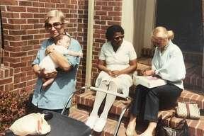 Photos of Liz Rubin with her caretaker, Mrs. Palmer