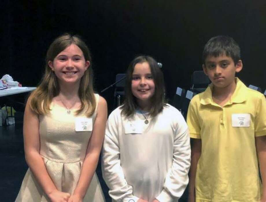 From left, Fairfield's 5th Grade Spelling Bee winners Emily Heath (Riverfield Elementary School), Mia Linardy (Riverfield Elementary School) and  Ryan Souza (Jennings Elementary School).