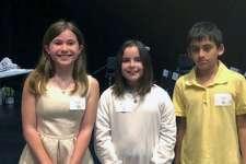 From left, Fairfield's 5th Grade Spelling Bee winners Emily Heath (Riverfield Elementary School), Mia Linardy (Riverfield Elementary School) and  Ryan Souza (Jennings Elementary School).