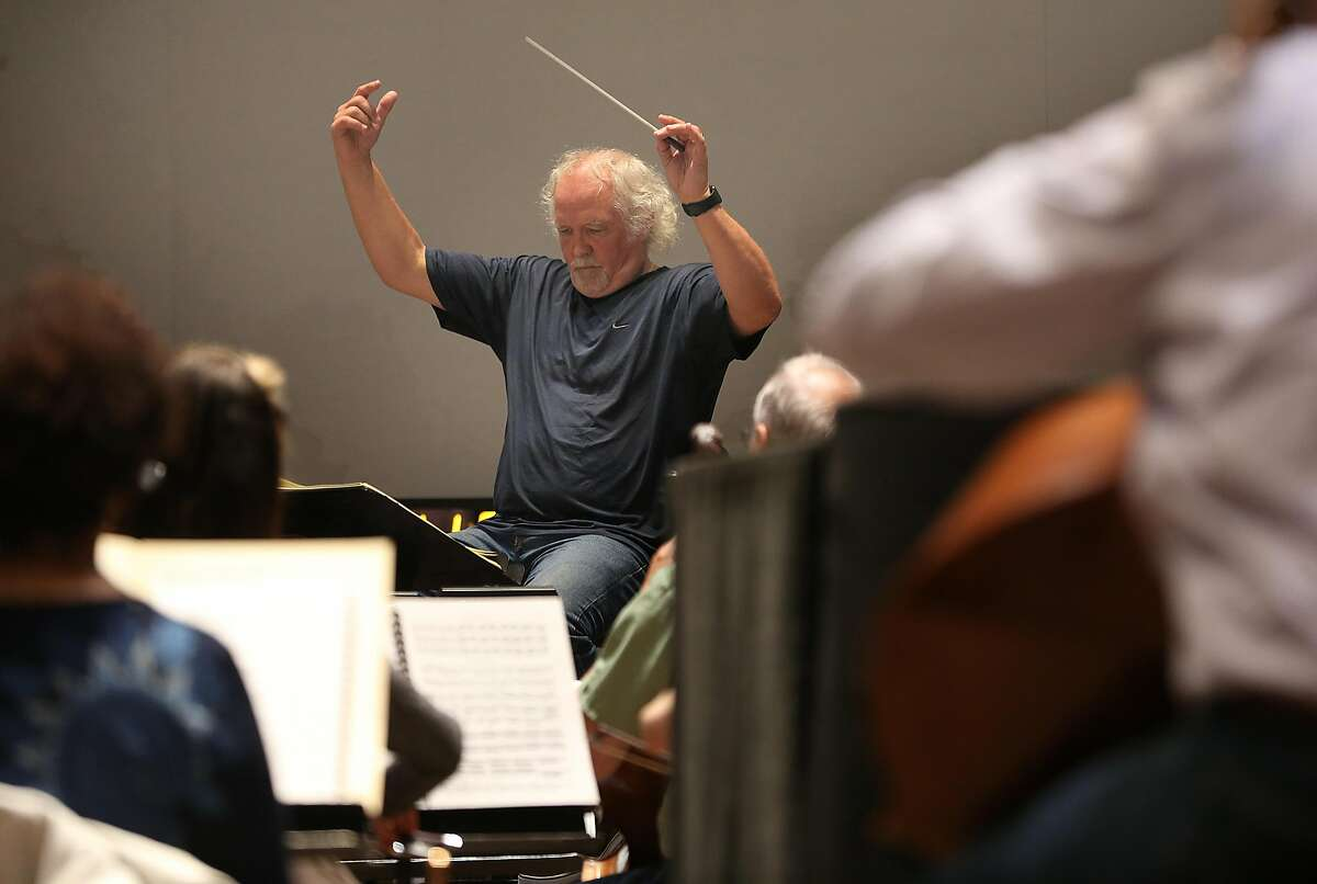 Siegfried orchestra rehearse under conductor Donald Runnicles at the Veterans Memorial building on Wednesday, May 23, 2018 in San Francisco, Calif.