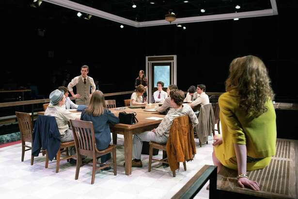 """Staples Players presents """"Twelve Angry Men"""" at Staples High School Black Box Theatre, 70 North Ave., Westport. Performances are May 25 and 26 at 7:30 p.m. and May 27 at 3 p.m. Tickets are $15 for adults, $10 for students, $10 for seniors (matinee only). Children under 10 not admitted. Above, students rehearse a scene from """"Twelve Angry Men."""""""