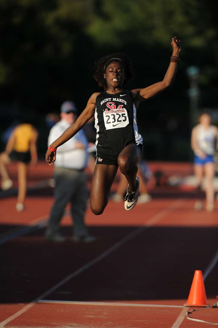 St. Mary�s-Berkeley's Kali Hatcher -- here competing in the triple jump at the Stanford Invitational in March -- is a track and field triple threat. The state runner-up in the triple jump last year, she could win state titles in the triple and and long jumps and is also the area�s best 300-meter hurdler.