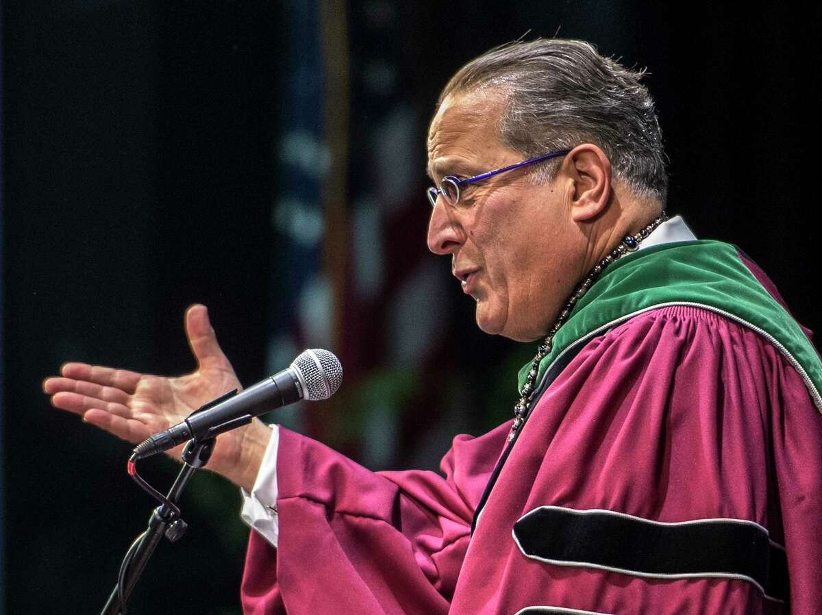 Dean of the Medical College, Vincent P. Verdile, MD '84 gives the introductory speech at the Albany Medical College graduation held at the Saratoga Performing Arts Center Thursday May 24, 2018 in Saratoga Springs, N.Y. (Skip Dickstein/Times Union)