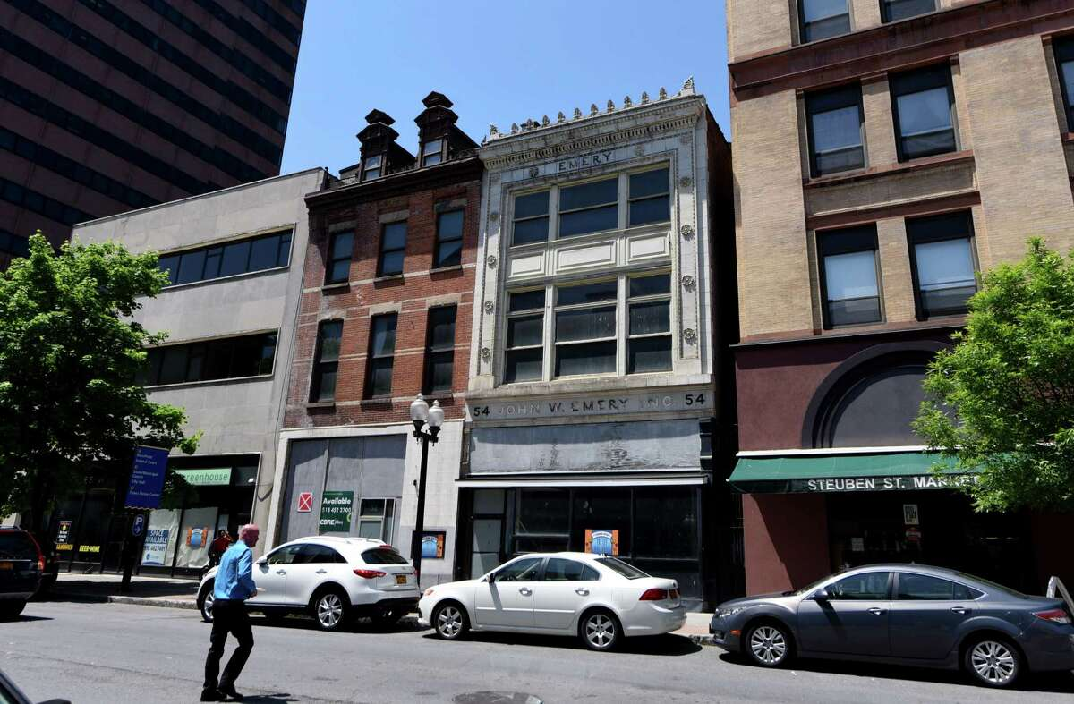 Exteriors of 52-54 North Pearl St., center, on Thursday, May 24, in Albany, N.Y. Owner Chris Pratt plans to add apartments to the downtown property. (Will Waldron/Times Union)