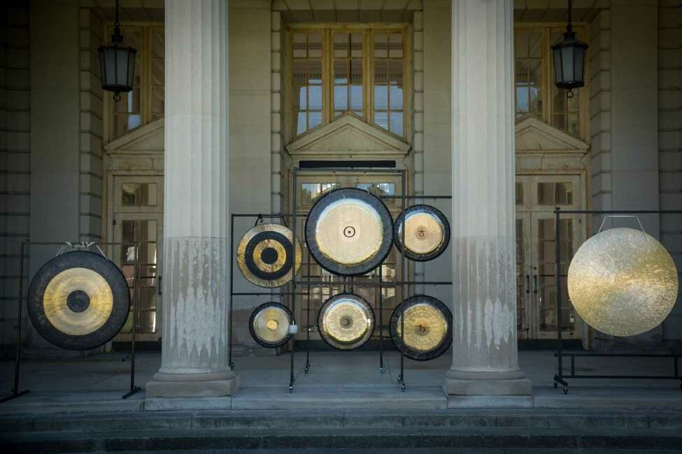 An image of the Gong Lab gongs assembled before an event at the Roosevelt II baths in Saratoga Springs.