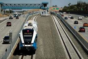 A diesel-powered train approaches the Antioch Station during a test run of the BART extension that runs from the Pittsburg/Bay Point Station to Hillcrest Avenue in Antioch.