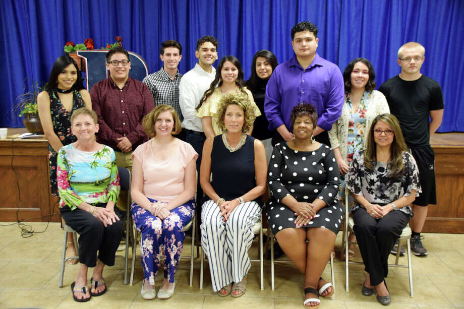 Educators selected by the PHS honor graduates as their most inspiring teachers are Virginia Malone (seated with student behind) selected by Samantha Gonzales; Lori Franklin selected by Jorge Gonzales; Mandy Steen selected by Luis Hernandez, Isaac McMickings, Kimberly Cervera and Crusita Cruz; Martha Carr selected by Edgar Quiroga, Rigo Rey (JoAnn Rey is pictured) selected by Lucy Hernandez; and Matthew Figueredo selected by Dylan Beck. Photo:  Jan Seago/Plainview ISD
