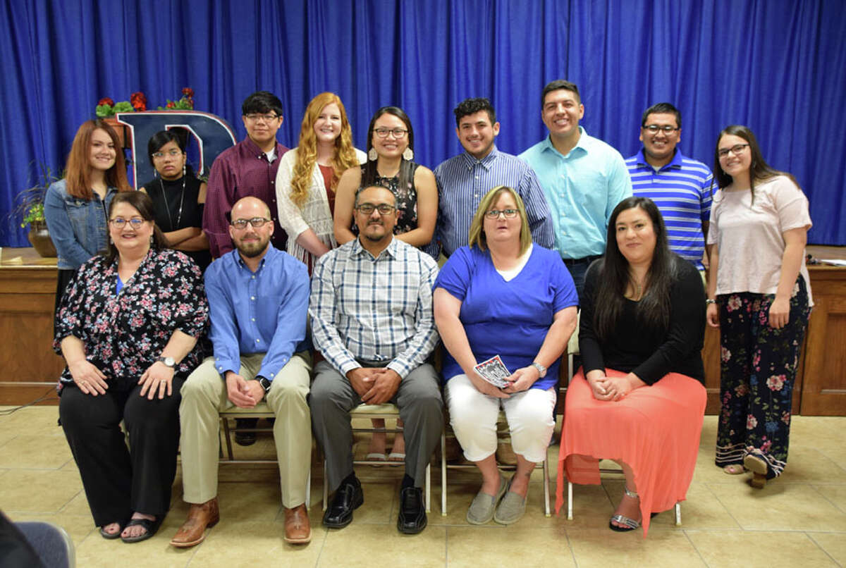 Educators selected by the PHS honor graduates as their most inspiring teachers are Dr. Debra Buford (seated with student behind) selected by Allyson Solis; Daniel Fitzgerald selected by Tomi Moralez and Pedro Mariscal; Enrique Villa selected by Jayden Brush and Sydney Nevares; Gwen Crawford selected by Trey Perez; Victoria Rios selected by Gilbert Gutierrez; Greg Reinhart (not pictured) selected by Gabriel Castro and Larissa DeLaRosa.
