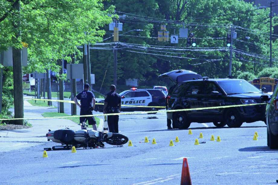 A motorcyclist was seriously injured Thursday afternoon in a crash with a car on Westport Avenue near the main entrance to Stew Leonard's. Police said the injuries were serious, but did not appear life-threatening. Photo: Thane Grauel / Hearst Connecticut Media / Connecticut Post
