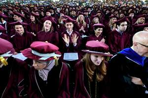 A sea of graduates enjoy the pomp and circumstance at the Albany Medical College graduation held at the Saratoga Performing Arts Center Thursday May 24, 2018 in Saratoga Springs, N.Y.  (Skip Dickstein/Times Union)