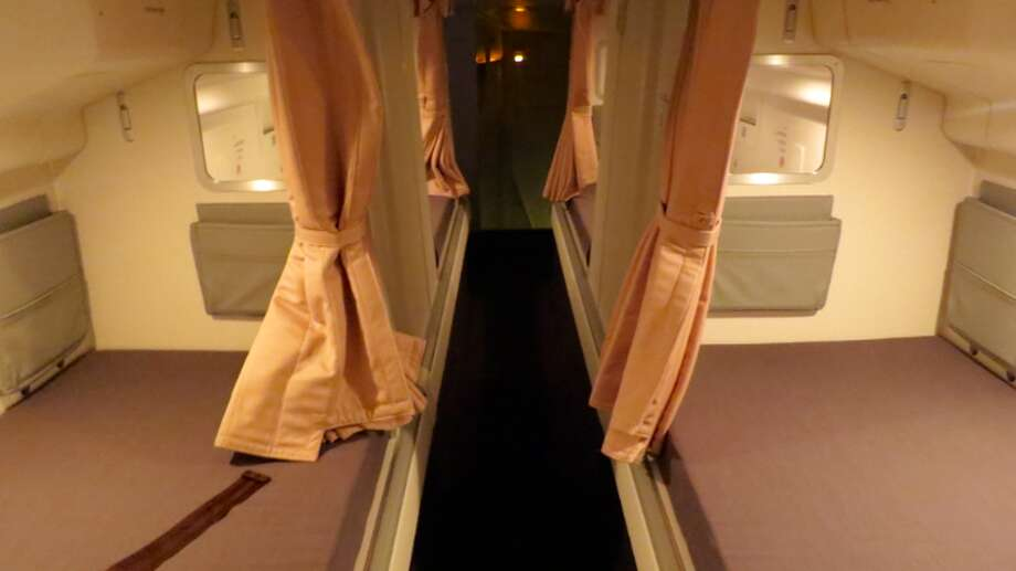 We also stepped inside the peachy pink confines of Singapore Airlines B777 (Photo: Chris McGinnis) Photo: Chris McGinnis