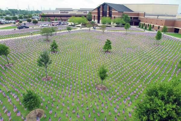 In southeast Houston, Sagemont Church's Memorial Day celebration includes more than 38,000 flags to remember Texans who lost their lives in battle.