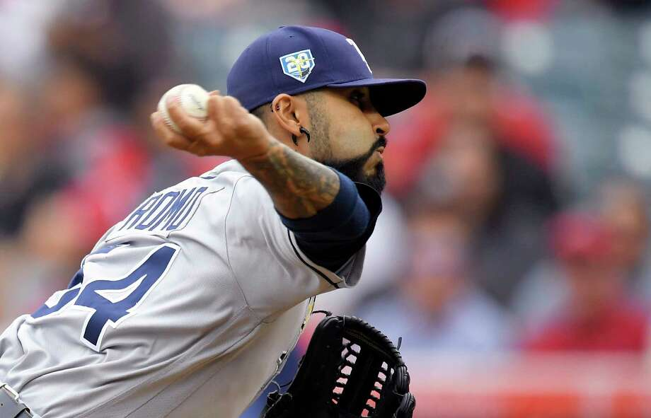 Tampa Bay Rays starting pitcher Sergio Romo throws to the plate during the first inning of a baseball game against the Los Angeles Angels, Sunday, May 20, 2018, in Anaheim, Calif. (AP Photo/Mark J. Terrill) Photo: Mark J. Terrill, Associated Press / Copyright 2018 The Associated Press. All rights reserved.