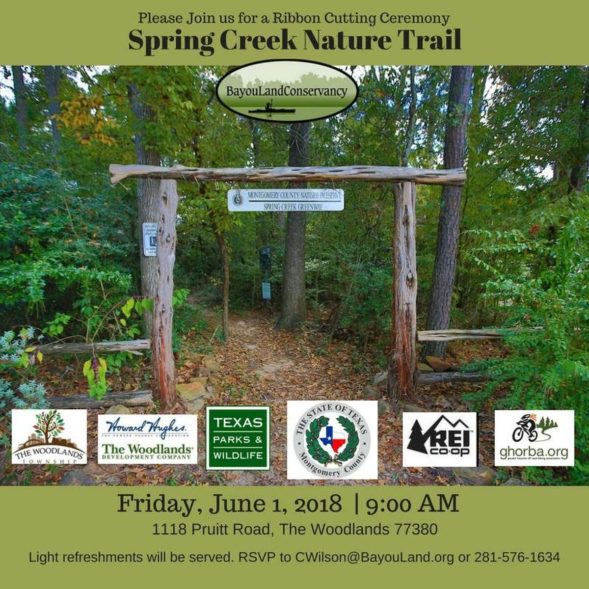 Officials with the Bayou Land Conservancy (BLC) announced that there will be a ribbon cutting ceremony for the 13-mile Spring Creek Nature Trail at 9 a.m., Friday, June 1, at the Montgomery County Preserve, located near 1118 Pruitt Road, The Woodlands.